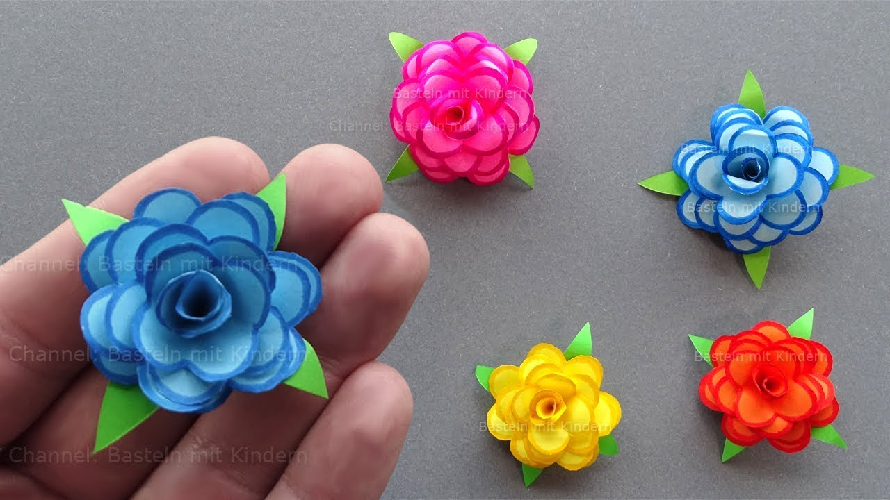 How To Make A Tiny Paper Rose Using Origami Paper Diy Paper Flower