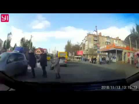 В Херсоне водитель чуть не сбил пешехода. Жесть! (Типичный Херсон)