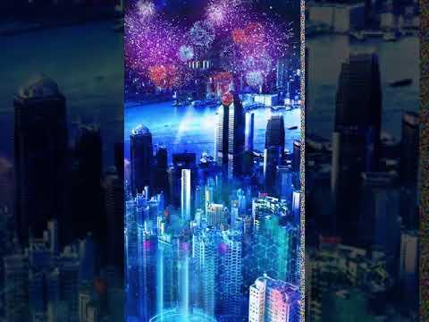 Blue technology city neon night scene