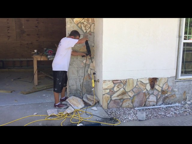 Adding Stucco Bands and Replacing Old Stone With New Stone - Titusville FL