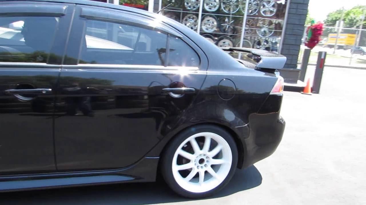 2013 mitsubishi lancer gt riding on custom 18 inch white rims tires