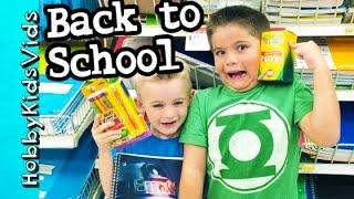 Back to School Shopping Haul! Backpacks, Markers + Crayons Folders HobbyKidsVids