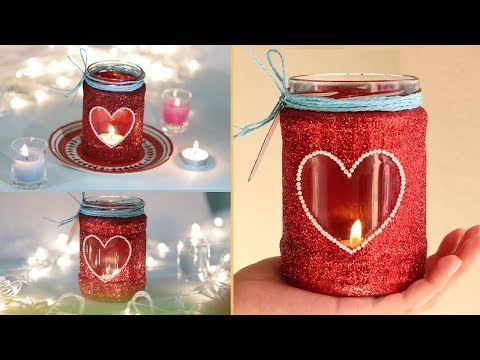 Glass jar candle holder | Diwali decoration | easy mason jar craft | festive glitter candle