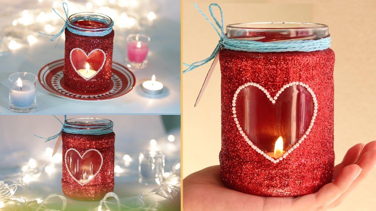 Glass Jar Candle Holder Diwali Decoration Easy Mason Jar Craft Festive Glitter Candle Youtube