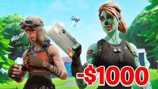 I Spent $1000 Dollars using My Fortnite Crush's CREDIT CARD... (MAD)