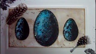 Mixed Media Art Card -  Easter Eggs