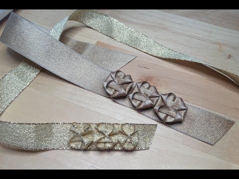 Fiori di nastro, idea per fermatende e raccogli tenda, tutorial facile. Ribbon flowers decoration