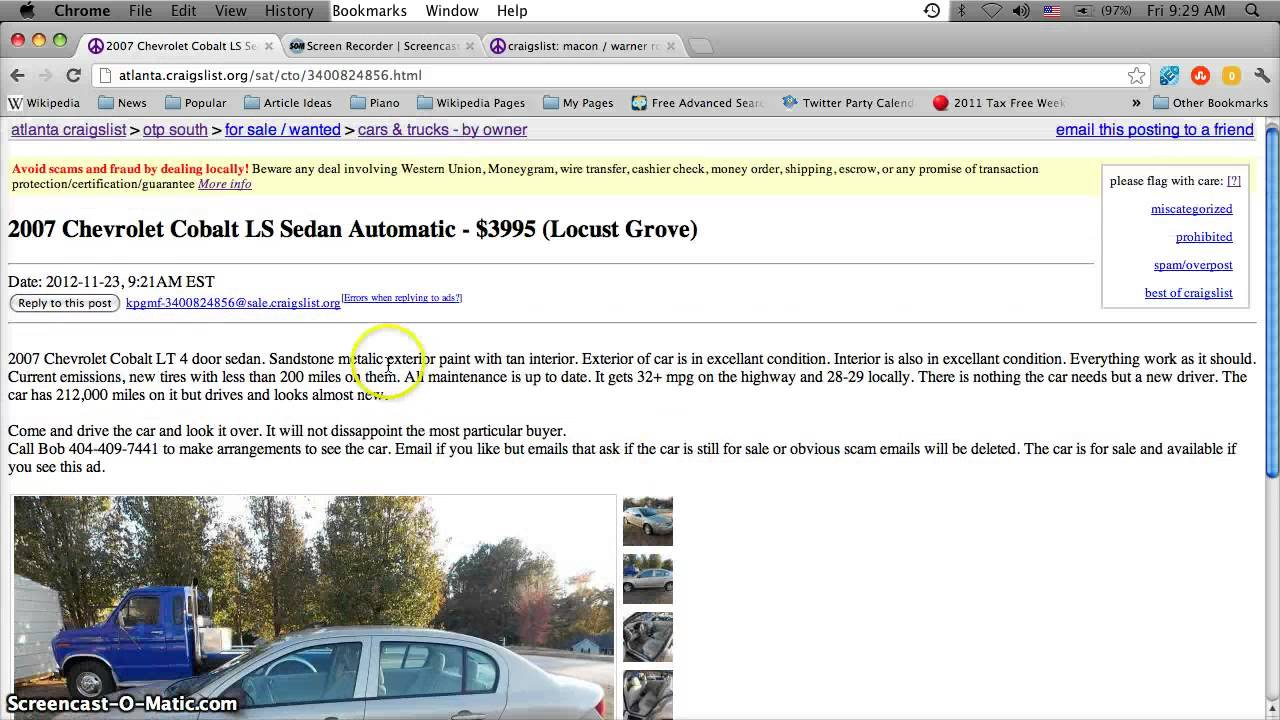 Craigslist Atlanta Used Cars, Appliances And Furniture For Sale By Owner    2013 Price Predictions