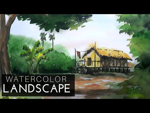 How to draw watercolour landscape | Drawing tutorial watercolour #46