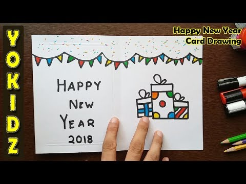 Happy New Year Card Drawing Youtube