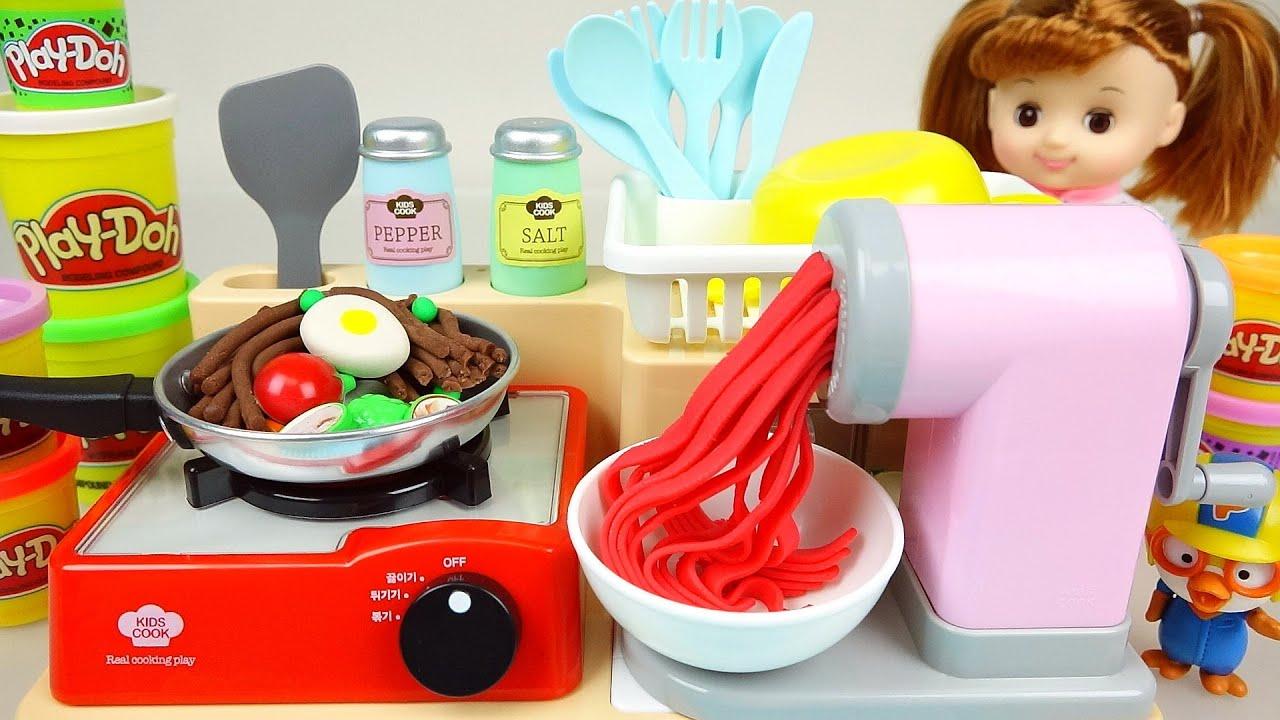 Play Doh Spaghetti cooking playdough with Baby doll Pororo 뽀로로 콩순이 와 플레이도우 스파게티 요리놀이