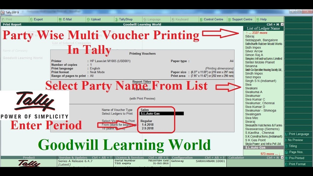 Tally TDL for Party Wise Multi Voucher Printing - Party Wise Multi Voucher  Printing