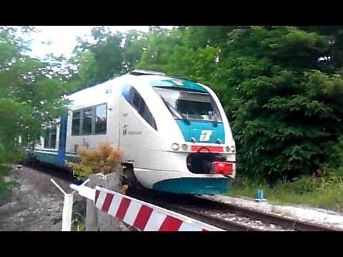 Treno Minuetto in transito al passaggio a livello in piena velocità (video)