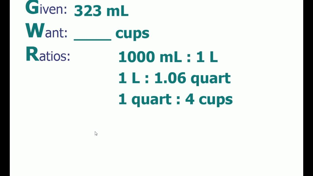 Dimensional analysis problem convert 323 ml to cups youtube dimensional analysis problem convert 323 ml to cups nvjuhfo Choice Image