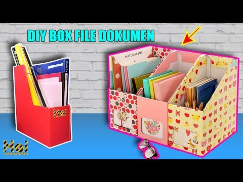 Cara Membuat Rak Buku Dan Dokumen Dari Kardus Bekas Diy Box File