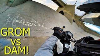 GROM RIDING STEEP DAM HILL!!