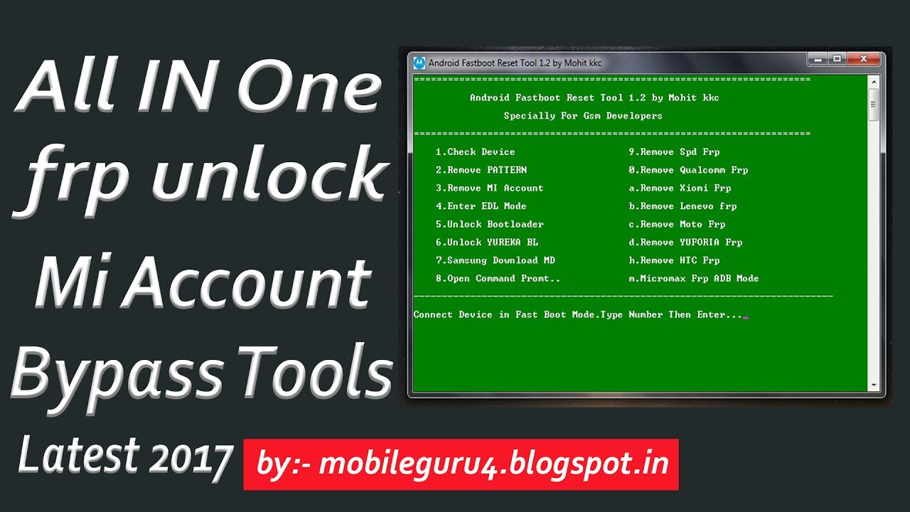 All In One FRP Uunlock And Mi Account Bypass Tool