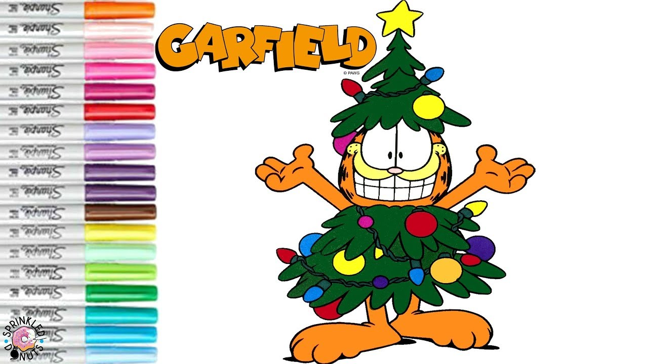 Coloring Garfield the Cat Christmas Coloring Book Page ...