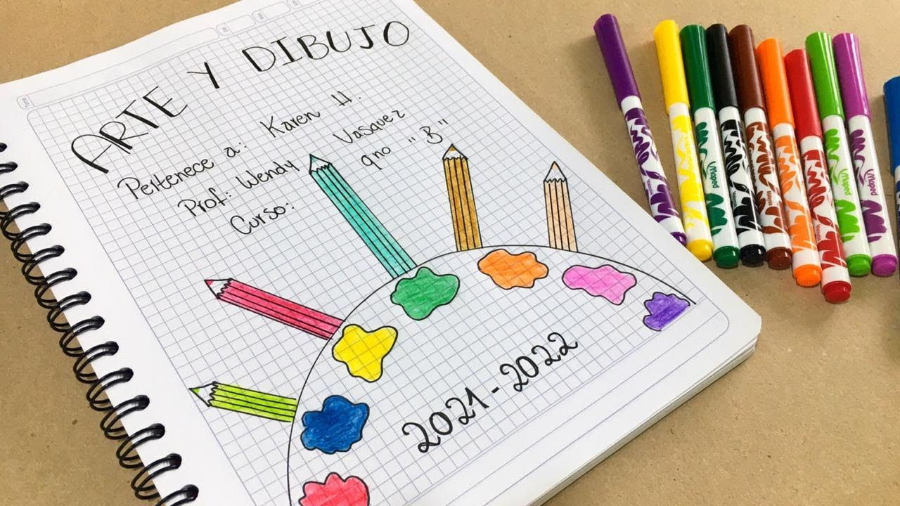 Haciendo Una Carátula Para El Cuaderno De Arte O Dibujo Y Pintura Youtube