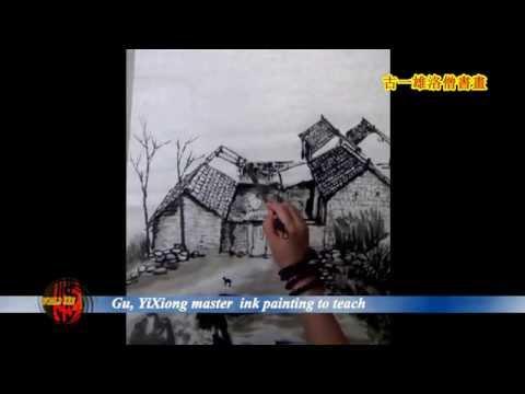 古一雄 Gu, YiXiong master painting to teach in New York