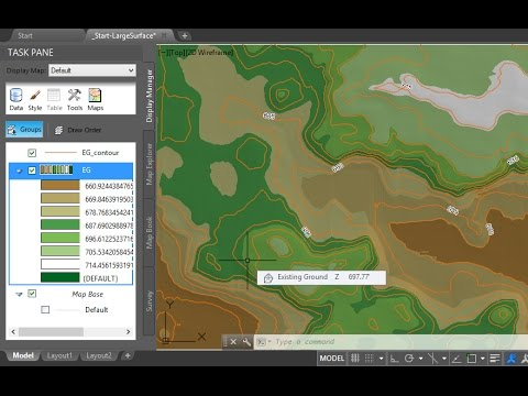 Improve Civil 3D large surface performance using the Map Display Manager