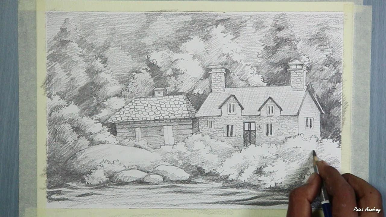 Pencil drawing how to draw a beautiful house landscape step by step