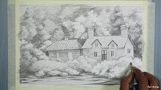 Pencil Drawing | How to Draw A Beautiful House Landscape | step by step