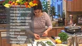 Samira's Kitchen # 57 Stuffed Chicken دجاج محشي, Spinach Salad, Chocolate Cake With Chocolate Leaves