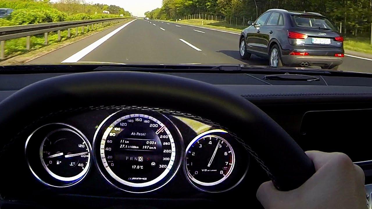mercedes e63 amg s drive on autobahn fuel consumption benzin