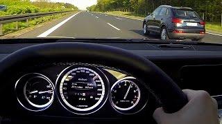 Mercedes E63 AMG S Fuel consumption Benzin Verbrauch Autobahn Acceleration Onboard V8 Sound Kickdown