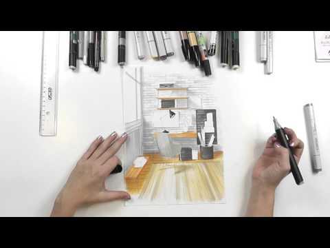 Интерьерный скетчинг: дизайн рабочего пространства. Распечатай построение и рисуй!