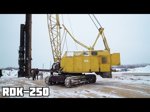 Копер на базе гусеничного крана RDK-250. Забивка свай повышенной ударостойкости в мерзлый грунт.