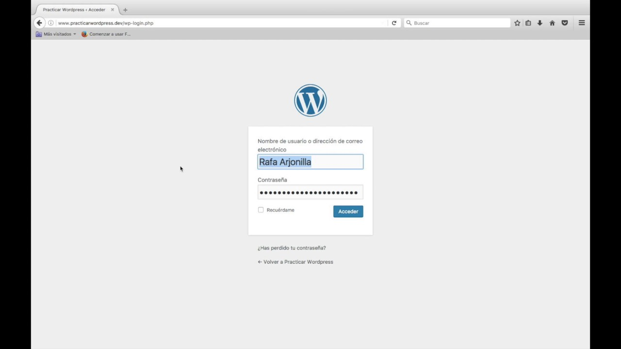 Cómo entrar en el panel de administracion WordPress -vídeo - YouTube