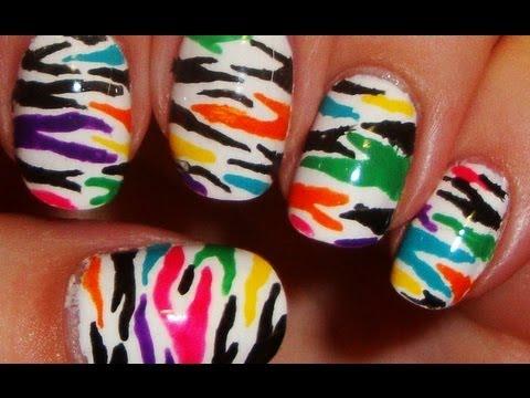 funky colorful zebra nails