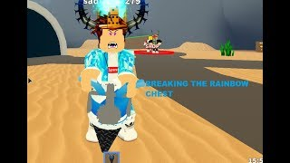 BREAKING THE RAINBOW CHEST IN TREASURE HUNT SIMULATOR!!!!! ROBLOX TREASURE HUNT SIMULATOR