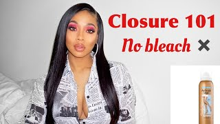 NO BLEACH!How to Hide Knots on a Closure!| Customizing Closure Wig 101-Sunber Hair