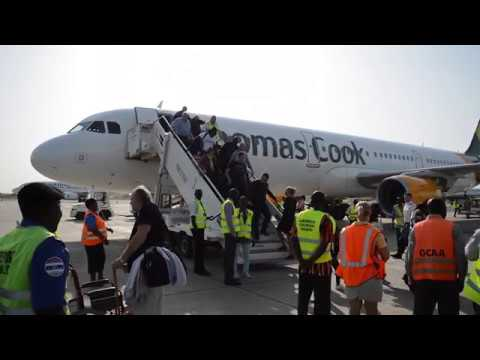 Arrival of Thomas Cook flight from Manchester to Gambia