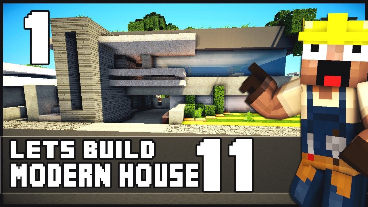 minecraft lets build modern house 11 part 1 youtube