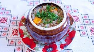 Гречка с мясом и грибами в горшочках Как приготовить гречку Блюда из гречки Гречка рецепт с овощами