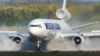 Unbelievable MD-11 LANDING on a WET RUNWAY (4K)