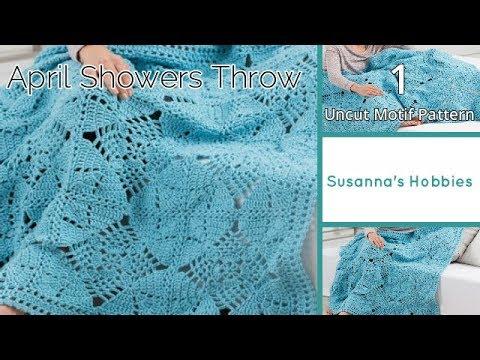 かぎ針編み4月の雨☂エイプリルシャワーブランケット1 スクエア♡April Showers Afghan Throw 1 Crochet Square スザンナのホビー