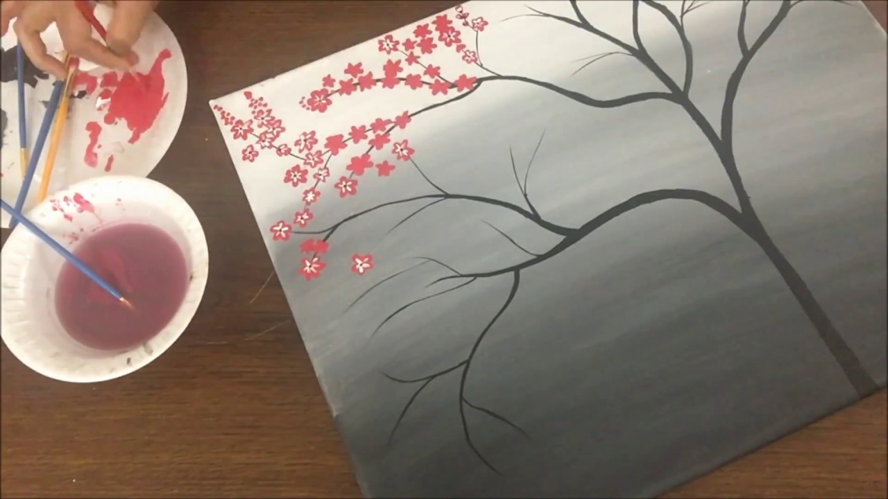 Cherry Blossom Acrylic Painting For Beginners Easy Canvas Youtube