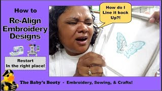 How to Re-align embroidery designs!  How to re-align the embroidery hoop!