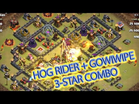 Hog Rider Attack Strategy - Combo With Gowiwipe 3 Star Max Town Hall 10