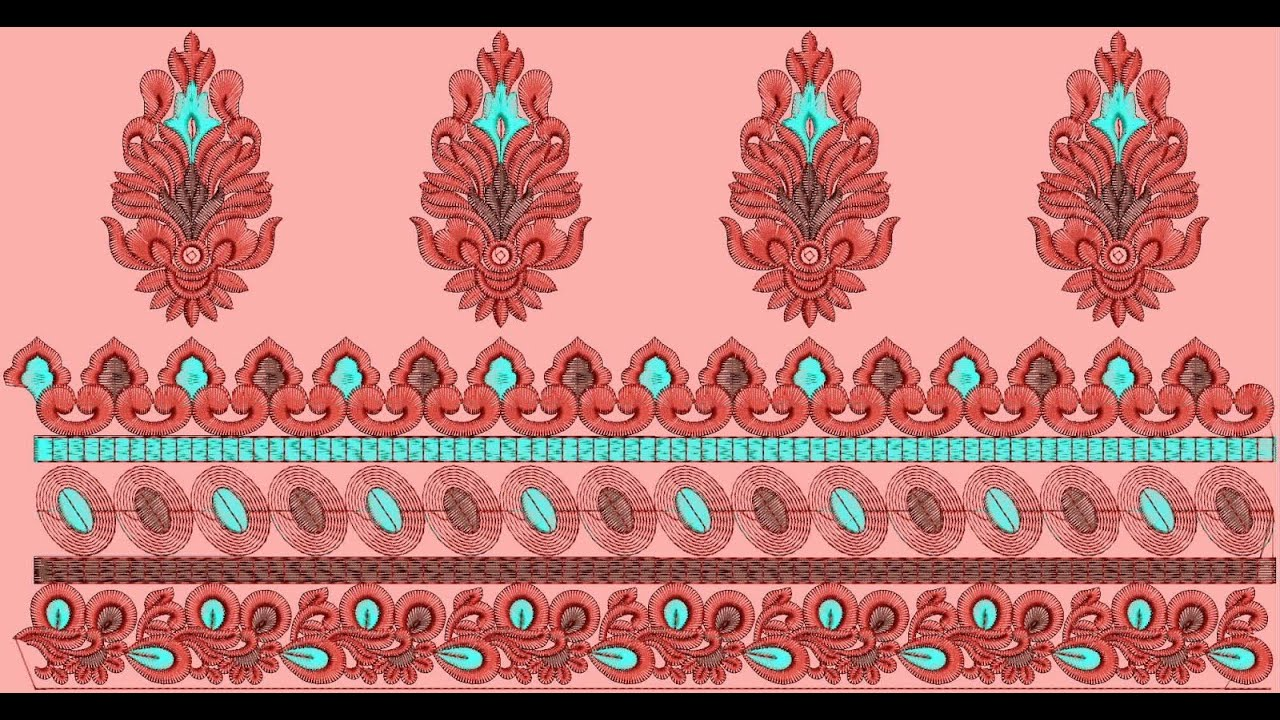 Designer dupatta border clothing embroidery designs youtube Fashion embroidery designs