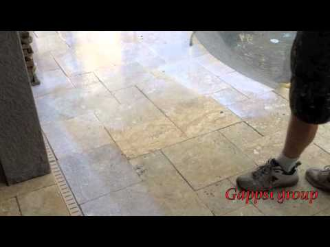 How Clean And Seal Travertine Granite Natural Stone Pavers Youtube