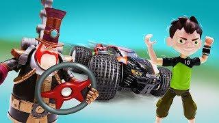 Видео для детей про машинки и гонки: Бен Тен играет против Стим Смита!