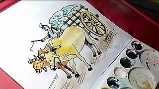 How to Draw Bullock cart with Farmer Drawing for Kids