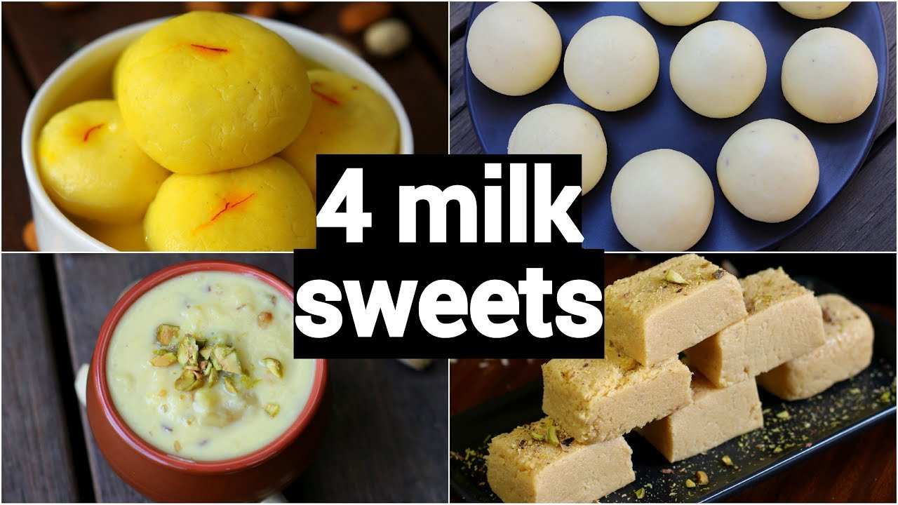 4 easy milk sweet recipes | easy milk dessert recipes | instant milk dessert recipes