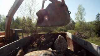 CASE Excavator Loading Dump Truck and Truck Dumping (GoPro HD Bed Cam)